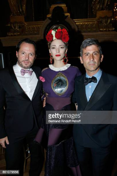 Alexandre de Betak his wife Sofia Sanchez de Betak and Andre Saraiva attend the Opening Season Gala Ballet of Opera National de Paris Held at Opera...