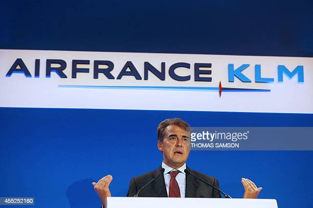 Alexandre de Juniac, CEO of Air France-KLM Group, presents the company's turnaround plan dubbed Perform 2020 on September 11 in Paris. Air France-KLM...