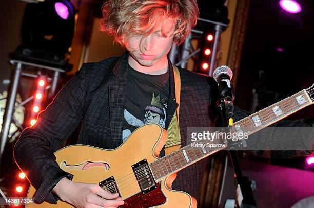 Alexandre de La Baume performs during the Villa Schweppes launch party for the Cannes Film Festival 2012 at the Pavillon NapoleonHaussmann on May 3...