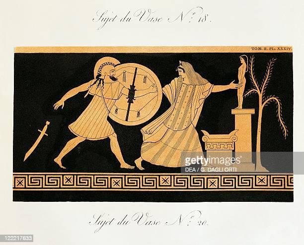 Alexandre de Laborde Collection de vases grecs de Ms le Comte de Lamberg Paris 18131824 Menelaus in Helen's pursuit before altar of Apollo Scene from...