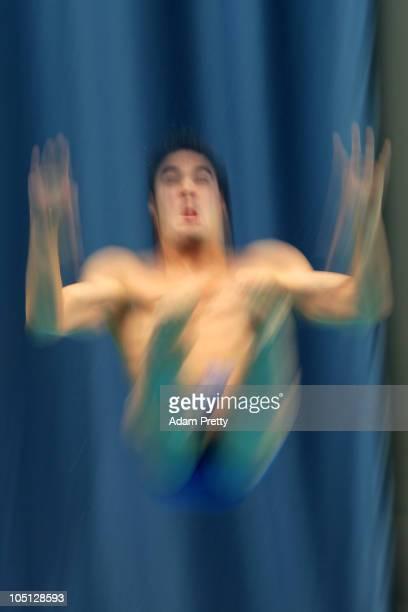 Alexandre Despatie of Canada competes in the Men's 1m Springboard Final at the Dr SP Mukherjee Aquatics Complex during day seven of the Delhi 2010...