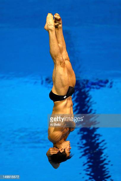 Alexandre Despatie of Canada competes in the Men's 3m Springboard Diving Preliminary on Day 10 of the London 2012 Olympic Games at the Aquatics...