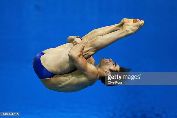 Alexandre Despatie of Canada competes in the Men's 3m Springboard Diving Semifinal on Day 11 of the London 2012 Olympic Games at the Aquatics Centre...