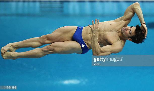 Alexandre Despatie of Canada dives during the men's 3m Springboard final during day one of the FINA Diving World Series Beijing Station at the...