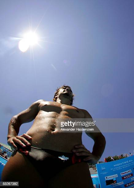 Alexandre Despatie of Canada waits on the board during practice for the men's one meter springboard semifinal round during the XI FINA World...