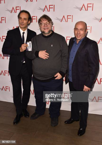 Alexandre Desplat Guillermo del Toro and J Miles Dale attend the 18th Annual AFI Awards at Four Seasons Hotel Los Angeles at Beverly Hills on January...