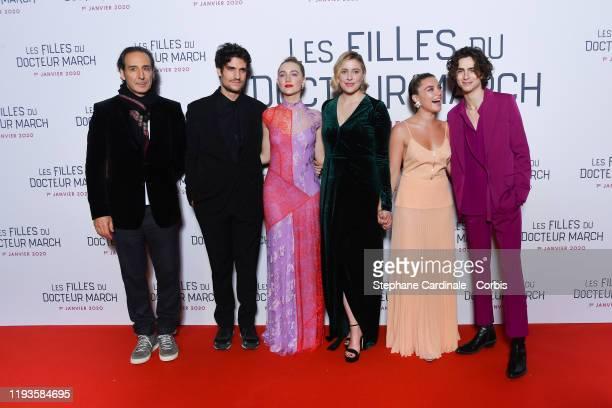 "Alexandre Desplat, Louis Garrel, Saoirse Ronan, Greta Gerwig, Florence Pugh and Timothee Chalamet attend the ""Little Women"" Premiere at Cinema..."
