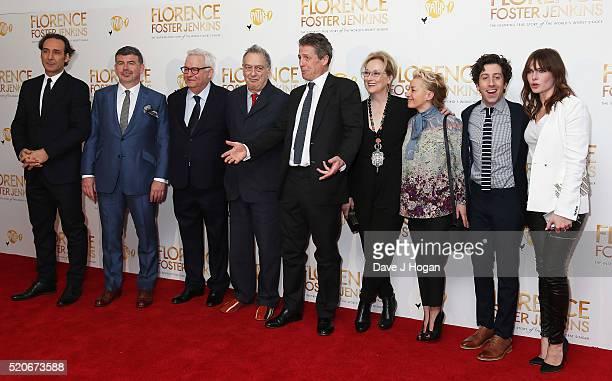 Alexandre Desplat, Nicholas Martin, Michael Kuhn, Stephen Frears, Hugh Grant, Meryl Streep, Tracey Seaward, Simon Helberg and Rebecca Ferguson arrive...