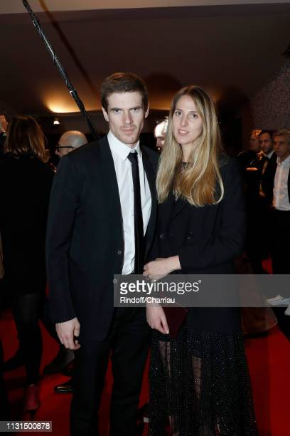 Alexandre Desseigne and sister Joy Desseigne attend 'Dinner at Le Fouquet's' during Cesar Film Award 2019 at Le Fouquet's on February 22, 2019 in...