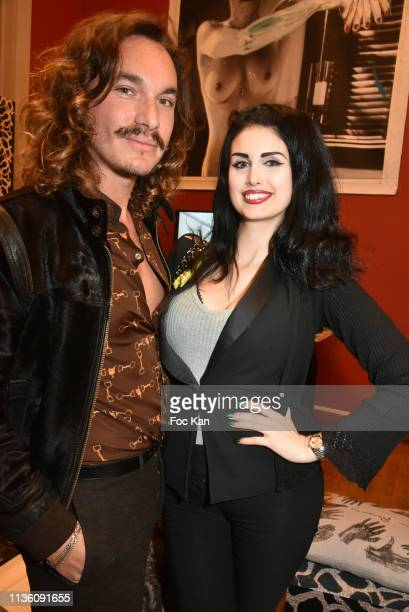 Alexandre Donze Solis and Elsa Oesinger attend Maurice Renoma Art Tribute Official Preview at Espace Bernard Palissy on March 15 2019 in Boulogne...