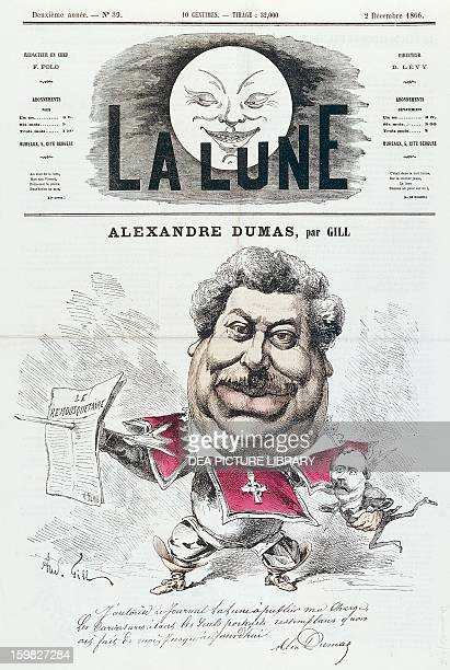 Alexandre Dumas father French novelist and playwright in a caricature by Andre Gill Paris Hôtel Carnavalet
