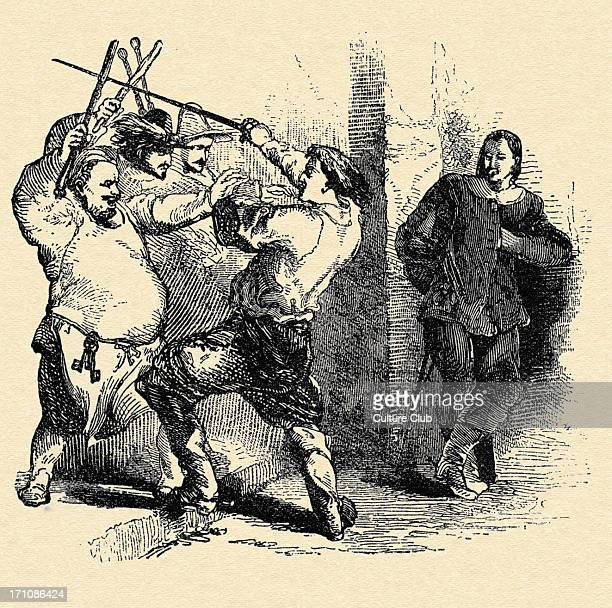 Alexandre Dumas 'The Three Musketeers' Caption reads 'His two auditors accompanied by the host fell upon d'Artagnan with sticks shovels and tongs'...