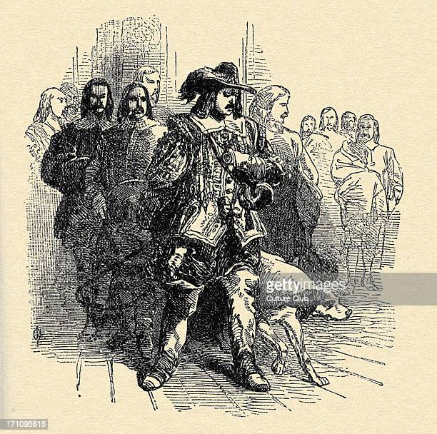 Alexandre Dumas 'The Three Musketeers' Caption reads 'Louis XIII appeared walking first… d'Artagnan judged that the mind of the king was stormy'...