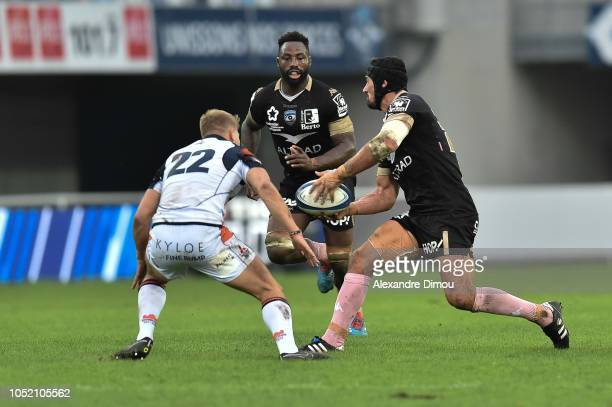 Alexandre Dumoulin and Fulgence Ouedraogo of Montpellier during the European Champions Cup match between Montpellier Herault and Edinburgh on October...