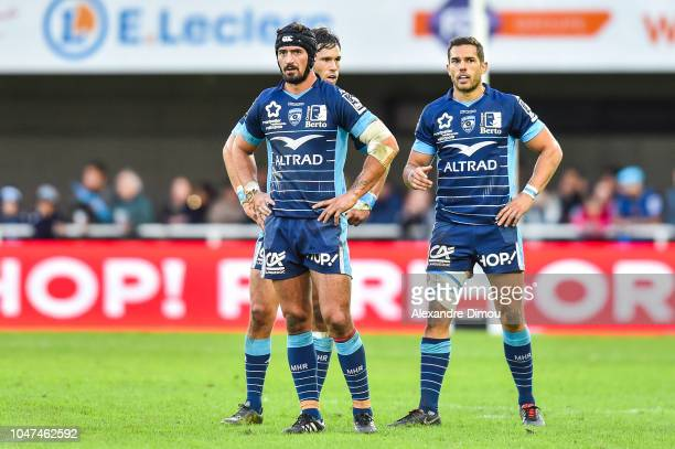 Alexandre Dumoulin and Jan Serfontein and Vincent Martin of Montpellier during the Top 14 match between Montpellier and Toulon at Altrad Stadium on...