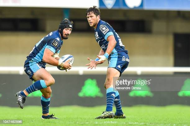 Alexandre Dumoulin and Jan Serfontein of Montpellier during the Top 14 match between Montpellier and Toulon at Altrad Stadium on October 7 2018 in...
