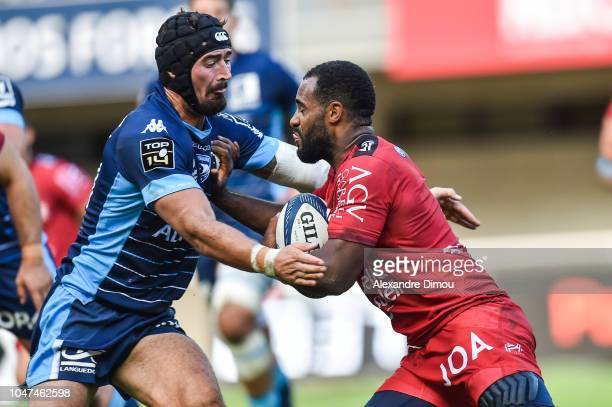 Alexandre Dumoulin of Montpellier and Daniel Ikpefan of Toulon during the Top 14 match between Montpellier and Toulon at Altrad Stadium on October 7...
