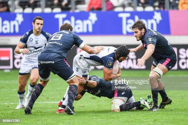 Alexandre Dumoulin of Montpellier and Paul Gabrillagues of Stade Francais during the Top 14 match between Stade Francais and Montpellier on October 7...