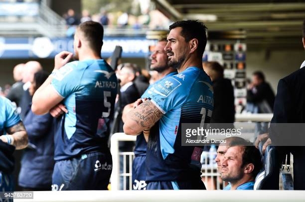 Alexandre Dumoulin of Montpellier during the Ligue 1 match between Olympique Marseille and Montpellier Herault SC at Stade Velodrome on April 8 2018...
