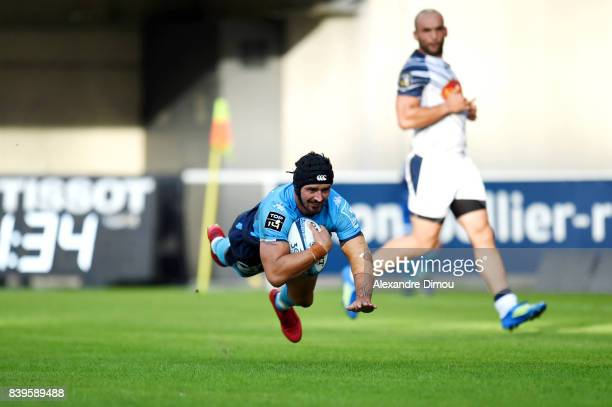 Alexandre Dumoulin of Montpellier scores his side's fifth try during the Top 14 match between Montpellier and SU Agen at on August 26 2017 in...