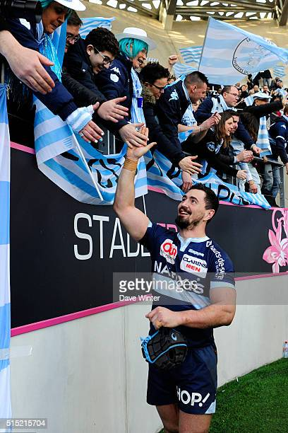 Alexandre Dumoulin of Racing 92 celebrates with the supporters after the French Top 14 rugby union match between Stade Francais Paris and Racing 92...