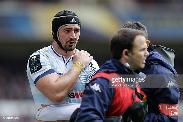 Alexandre Dumoulin receives treatment for a shoulder injury during the European Rugby Champions Cup Semi Final between Leicester Tigers and Racing 92...