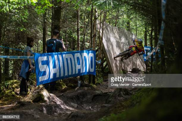 Alexandre Fayolle of France in action in the Men's Downhill during the UCI Mountain Bike World Cup on June 4 2017 in Fort William Scotland