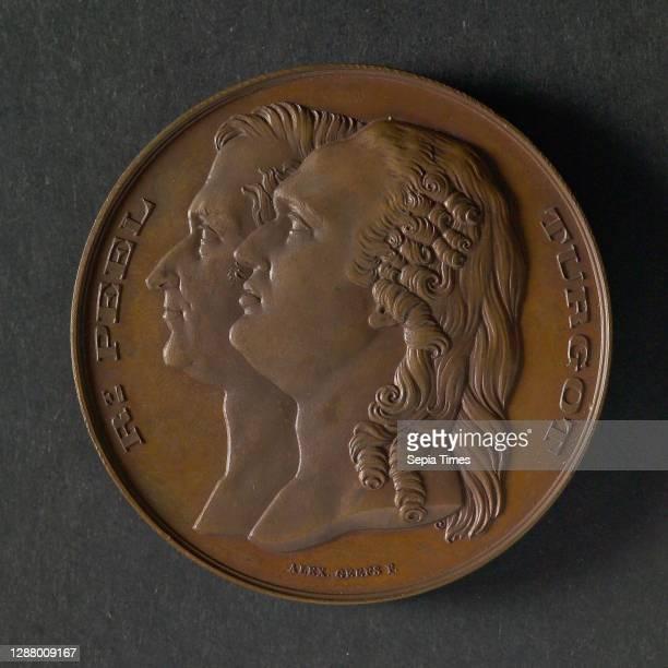 Alexandre Geefs, Medal at the Congress International des Reformes Douanières, medallion medals bronze, portraits of Turgot and Peel left omschrift:...