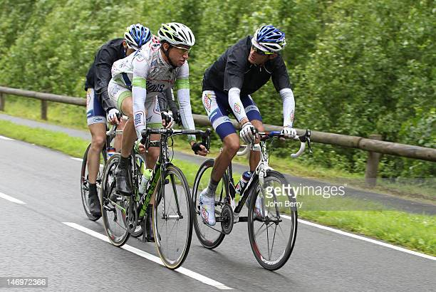 Alexandre Geniez and Brice Feillu compete at the 2012 French National Cycling Championships on June 24 2012 in Saint Amand Les Eaux France