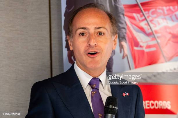 Alexandre Giorgini consul general of France in Hong Kong talks to media during the IDEC Sport Asian Tour press conference at the Royal Hong Kong...