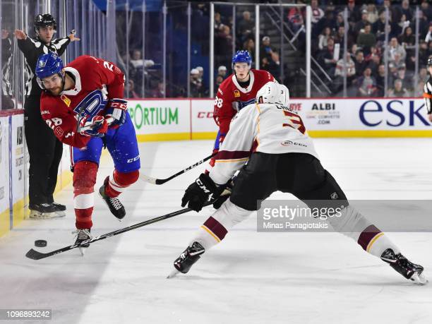 Alexandre Grenier of the Laval Rocket shoots the puck against the Cleveland Monsters during the AHL game at Place Bell on January 18 2019 in Laval...