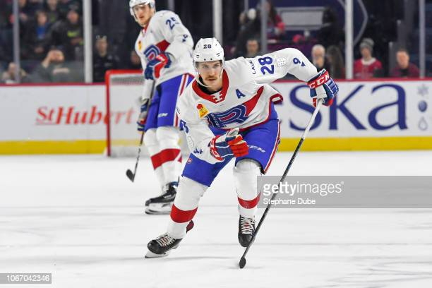 Alexandre Grenier of the Laval Rocket skating hard up the ice against the Lehigh Valley Phantoms at Place Bell on November 30 2018 in Laval Quebec