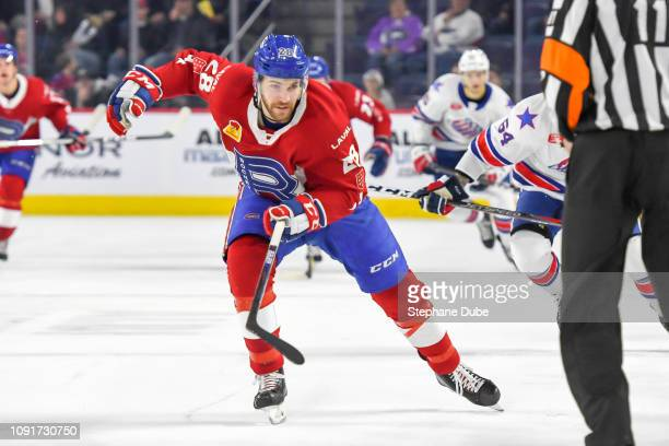 Alexandre Grenier of the Laval Rocket skating hard up the ice against the Rochester Americans at Place Bell on January 5 2019 in Laval Quebec