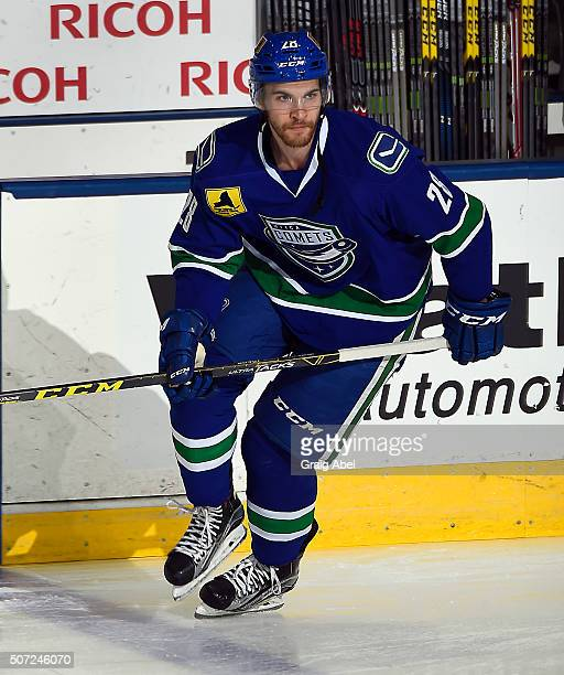 Alexandre Grenier of the Utica Comets skates in warmup prior to a game against the Toronto Marlies on January 24 2016 at the Ricoh Coliseum in...