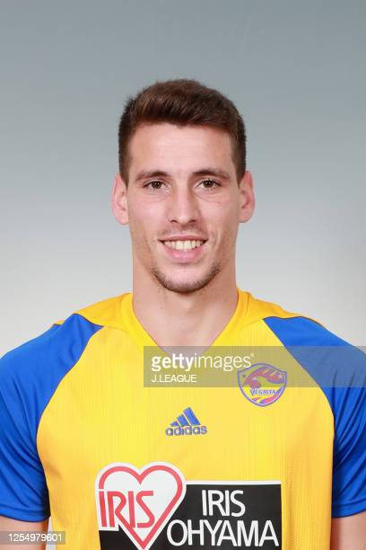 Alexandre Guedes poses for photographs during the Vegalta Sendai portrait session on January 9, 2020 in Japan.
