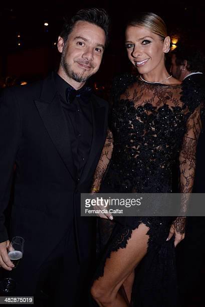 Alexandre Iodice and Adriane Galisteu attend amfAR's Inspiration Gala Sao Paulo on April 4, 2014 in Sao Paulo, Brazil.