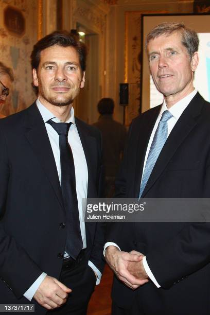 Alexandre Kara and Daniel E Harris attend the 'Shape France' Magazine Cocktail Launch at Hotel Talleyrand on January 19 2012 in Paris France