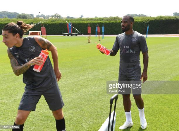Alexandre Lacazete and Hector Bellerin of Arsenal during Arsenal Training Session at London Colney on July 5 2018 in St Albans England