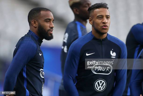Alexandre Lacazette and Corentin Tolisso of France during France training session on the eve of the FIFA 2018 World Cup Qualifier between France and...