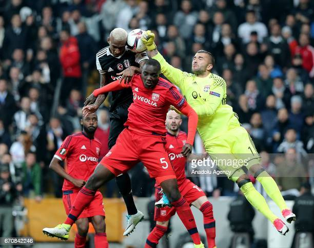 Alexandre Lacazette and goalkeeper Anthony Lopes of Olympique Lyon in action against Talisca of Besiktas during the UEFA Europa League quarter final...