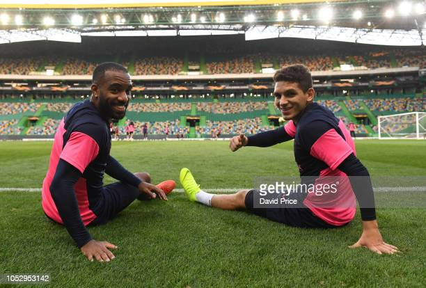 Alexandre Lacazette and Lucas Torreira of Arsenal during the Arsenal Training Session at Estadio Jose Alvalade on October 24 2018 in Lisbon Portugal