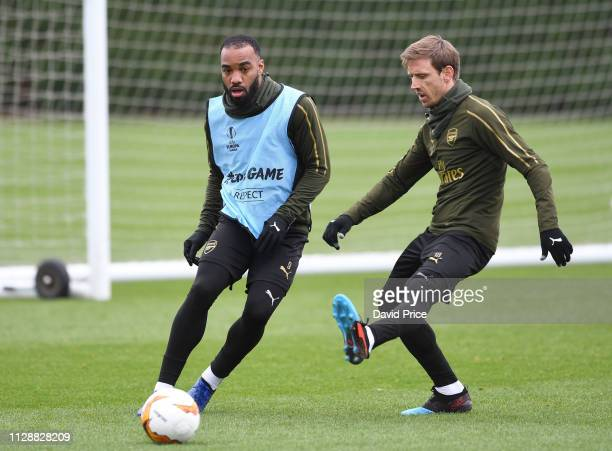 Alexandre Lacazette and Nacho Monreal of Arsenal during the Arsenal Training Session at London Colney on March 6 2019 in St Albans England