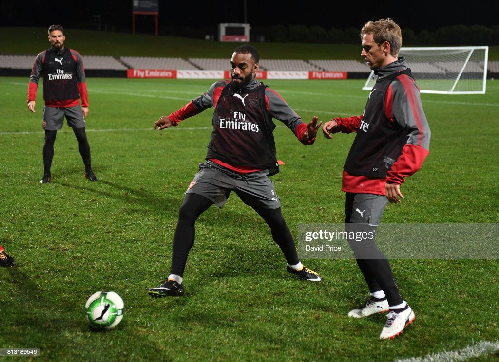 Alexandre Lacazette and Nacho Monreal of Arsenal during the Arsenal Training Session at Koragah Oval on July 12, 2017 in Sydney, Australia.