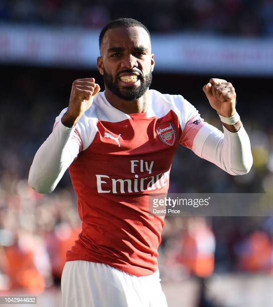 Alexandre Lacazette celebrates Arsenal's 2nd goal during the Premier League match between Arsenal FC and Watford FC at Emirates Stadium on September...