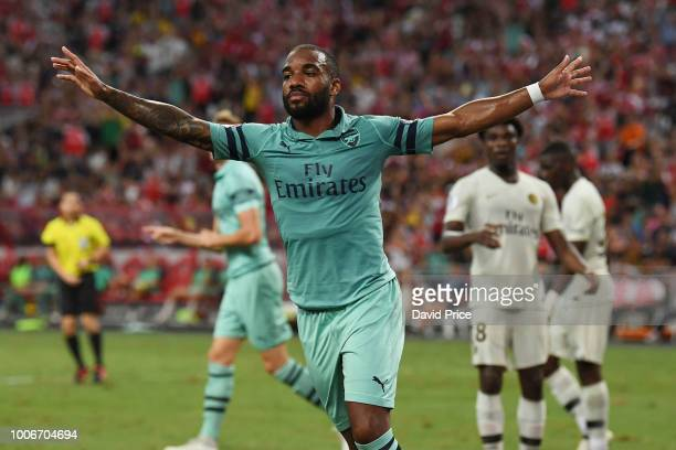 Alexandre Lacazette celebrates scoring a goal for Arsenal during the International Champions Cup match between Arsenal and Paris Saint Germain at the...