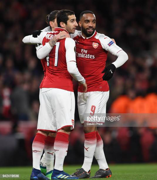 Alexandre Lacazette celebrates scoring Arsenal's 4th goal his 2nd with Henrikh Mkhitaryan during the UEFA Europa League quarter final leg one match...