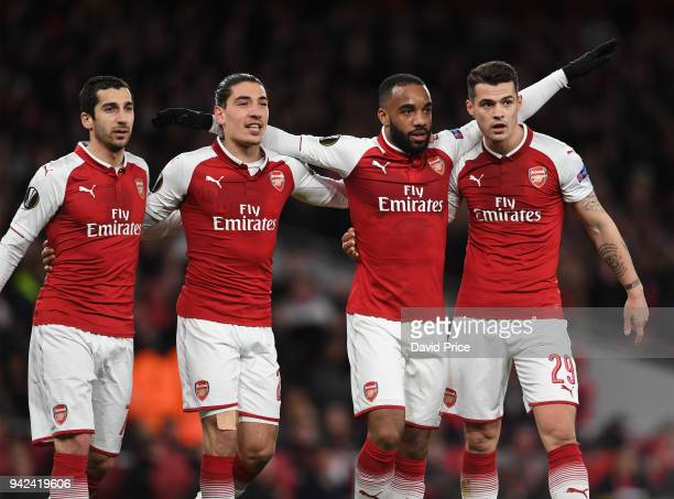 Alexandre Lacazette celebrates scoring Arsenal's 4th goal his 2nd with Henrikh Mkhitaryan Hector Bellerin and Granit Xhaka during the UEFA Europa...