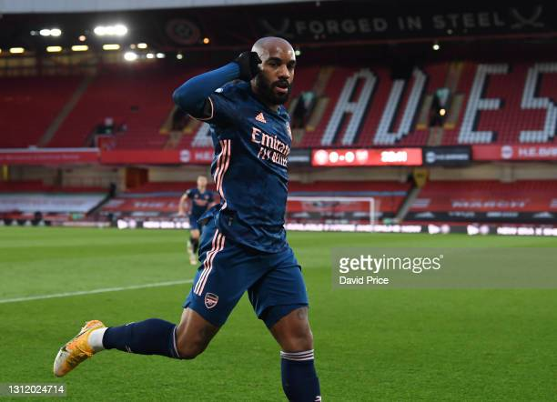 Alexandre Lacazette celebrates scoring his and Arsenal's 1st goal during the Premier League match between Sheffield United and Arsenal at Bramall...