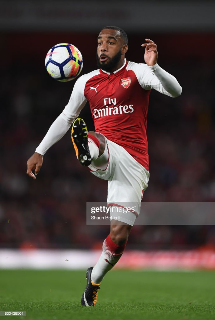 Alexandre Lacazette controlling the ball during the Premier League match between Arsenal and Leicester City at Emirates Stadium on August 11, 2017 in London, England.