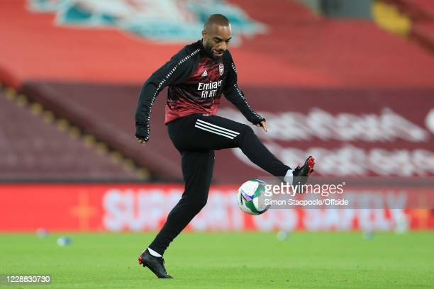 Alexandre Lacazette of Arsenal ahead of the Carabao Cup Fourth Round match between Liverpool and Arsenal at Anfield on October 1 2020 in Liverpool...